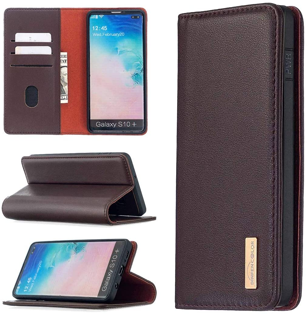 Phone Case Separated Leather Mobile Phone Holster for Samsung S10 Plus [with Card Slot, Coin Clip] with Bracket Function, Genuine Leather Magnet Wallet Flip Protective Case Bag ( Color : Dark brown )