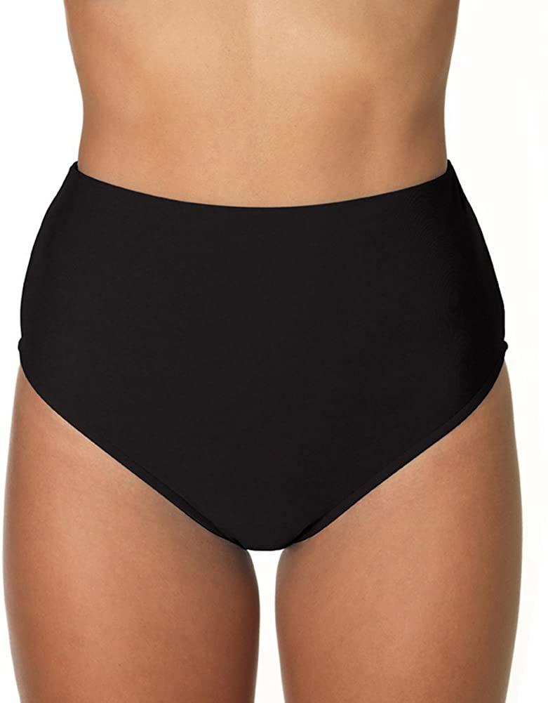 Sunsets Swimwear, High-Waist Swimming Bottoms, Black, Size Medium