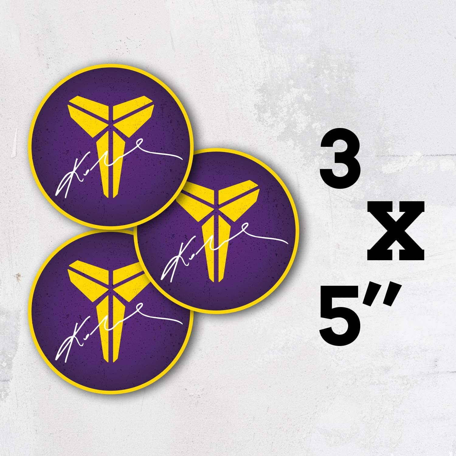 Koby Bryant Logo Signature Vinyl Lakers Basketball Los Angeles Sticker Decal Set of 3 Pieces - 5'' x 5''