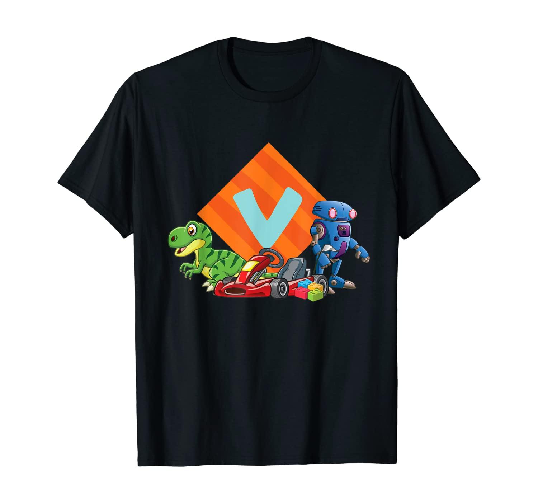 Letter V Sign Alphabet Last Name Consonants Robot Dino Gift T-Shirt