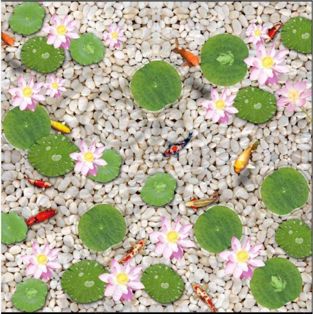 Custom Picture Self-Adhesive Flooring Wallpapers Painting Pebble Fish Lotus Leaf Floor Mural Painting Wall Sticker Home Decor customize-1m2