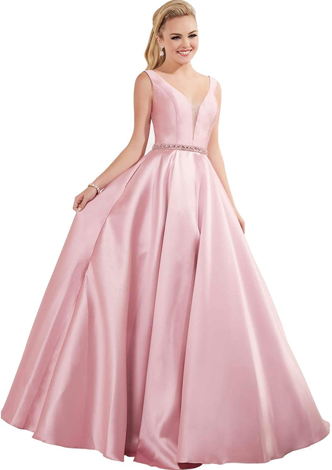 MYDRESS V-Neck Prom Dresses Long Satin A Line Beaded with Pockets Wedding Dress for Women