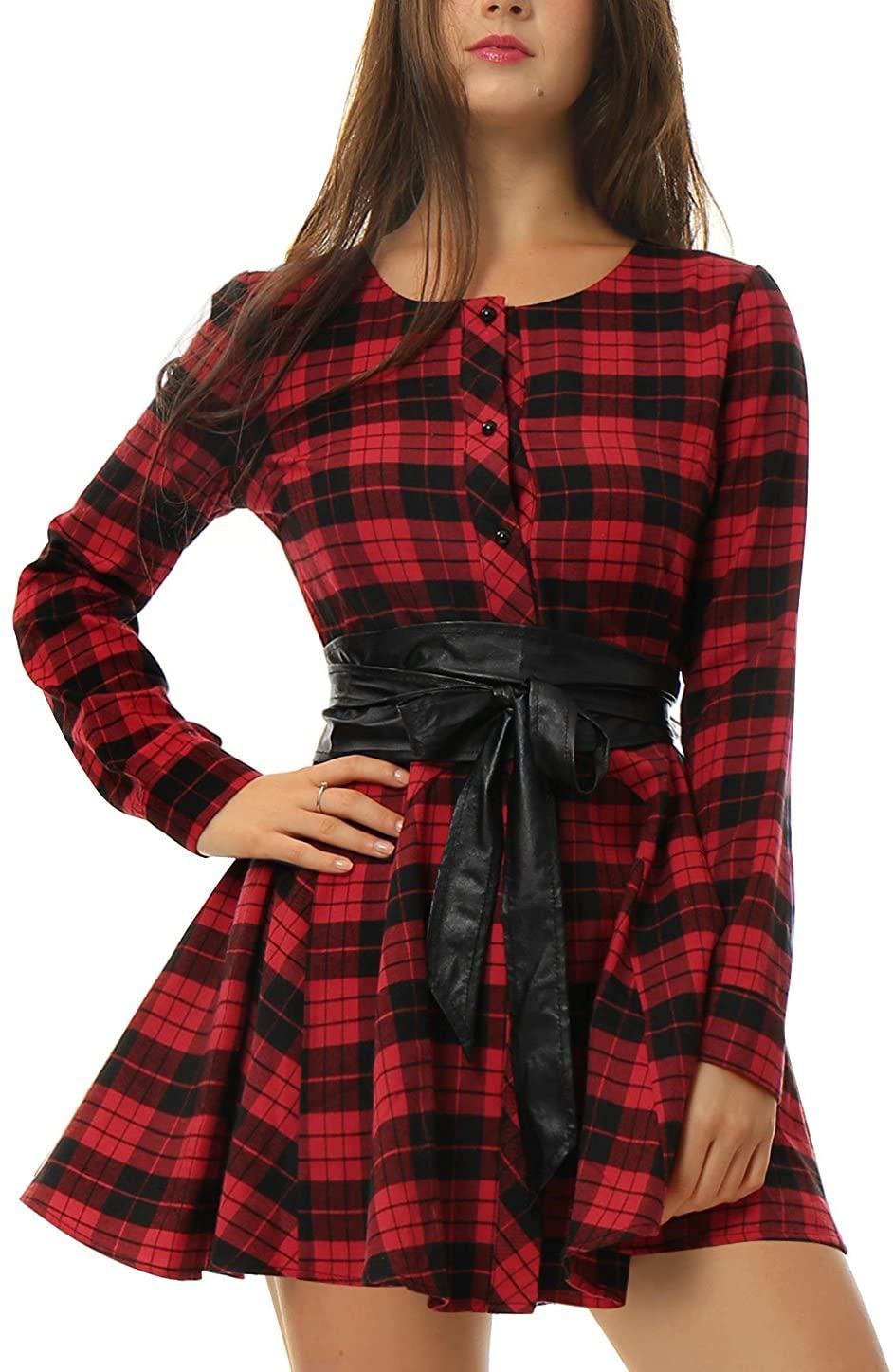 Allegra K Womens Plaids Long Sleeves Button Down Belted Party Mini A-Line Shirt Dress