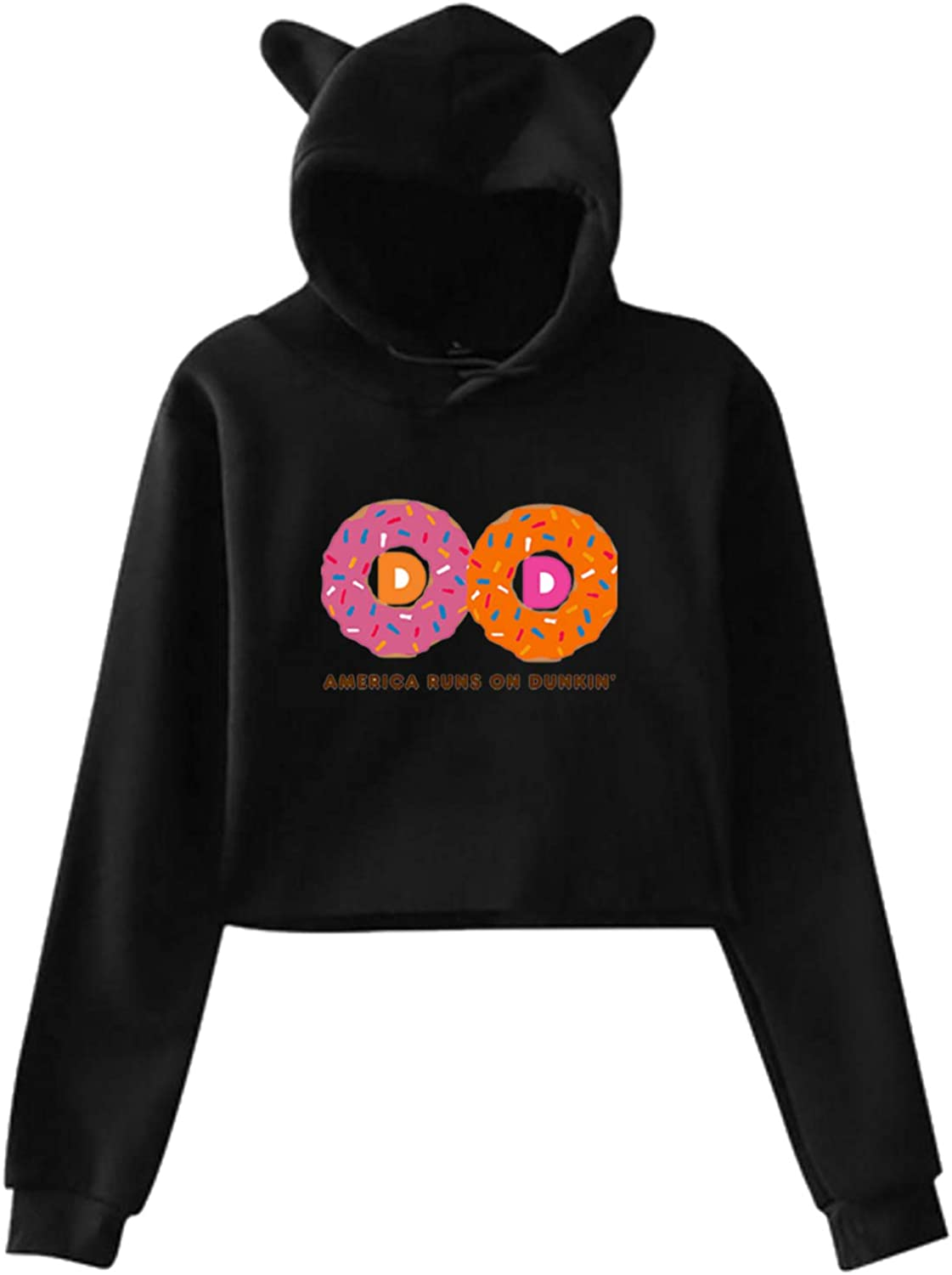 Doughnut Dunkin Ladies Casual Cat Ear Sweater