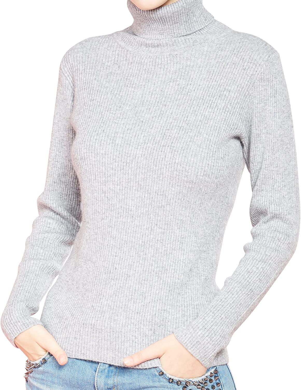 LONGMING Women's Cashmere Turtleneck Sweater Slim-fit Long Sleeve Winter Pullover Tops