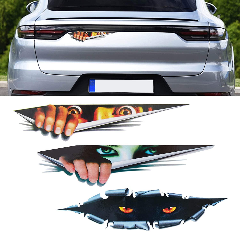 TOMALL 3pcs 3D Simulation Stereo Eyes Peeking Car Stickers Man Peeking Woman Peeking Stickers Leopard Eyes Peeking Sticker Self-Adhesive Waterproof Car Decals for Car Window Bumper Laptop Motorcycle