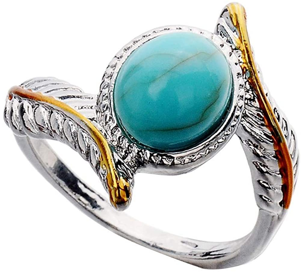 ocijf179 Vintage Two Tone Twist Leaf Faux Turquoise Ring Women Wedding Engagement Jewelry - Silver US6