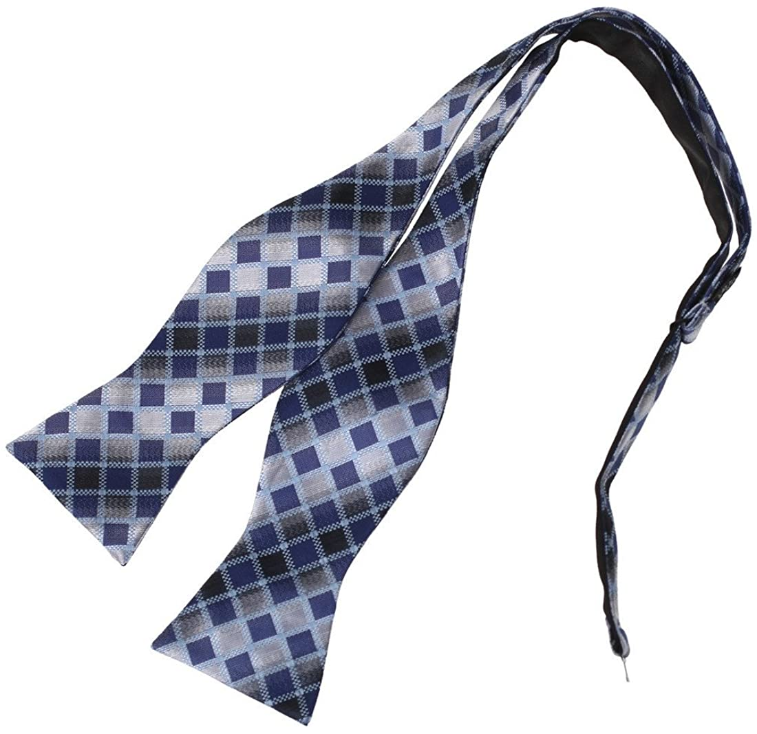 Dan Smith Men's Fashion Checked Self-tied Bowtie Microfiber for Xmas Gift With Free Gift Box