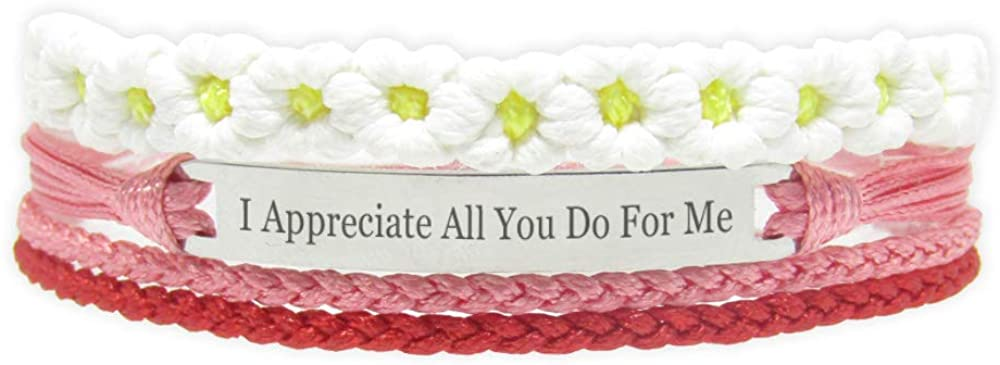 Miiras Thank You Handmade Bracelet - I Appreciate All You do for me - White FL-RE - Made of Braided Rope and Stainless Steel - Gift for Women, Girls, Friends, Mothers, Daughters, Aunts