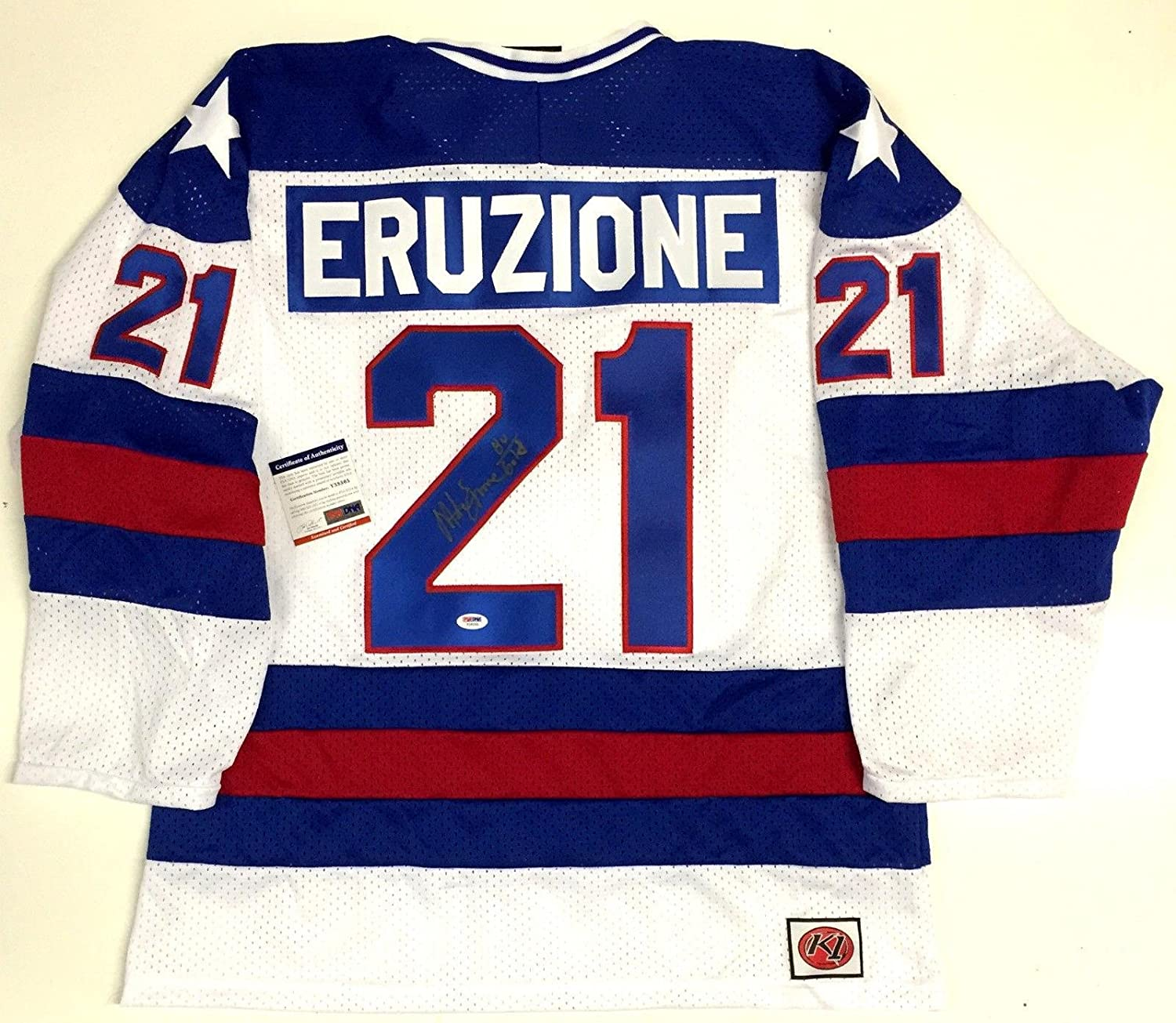 Mike Eruzione 1980 Team Usa Olympics Signed Jersey Psa/dna Coa With 1980 Gold - Autographed Olympic Jerseys