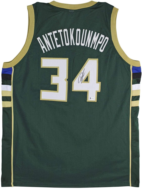 Bucks Giannis Antetokounmpo Signed Green Jersey BAS Witnessed - Autographed NBA Jerseys