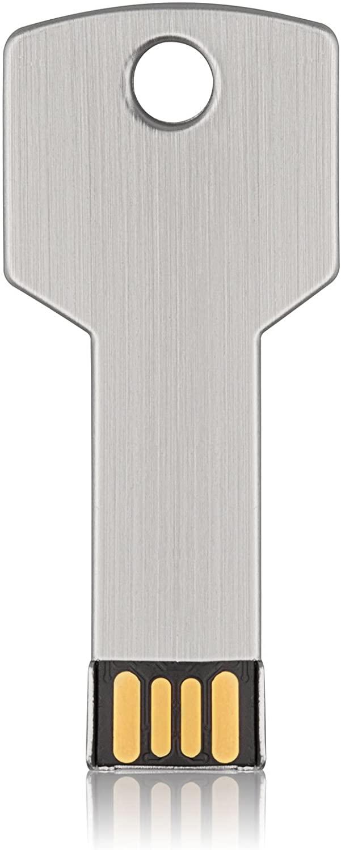 32GB Key Shape USB Flash Drive K&ZZ Metal Thumb Drives USB2.0 Flash Disk Memory USB Stick Expansion Disk (32 GB Silver)