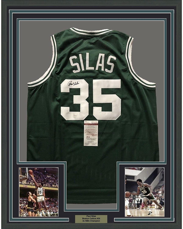 FRAMED Autographed/Signed PAUL SILAS 33x42 Boston Celtics Green Jersey JSA COA - Autographed NBA Jerseys