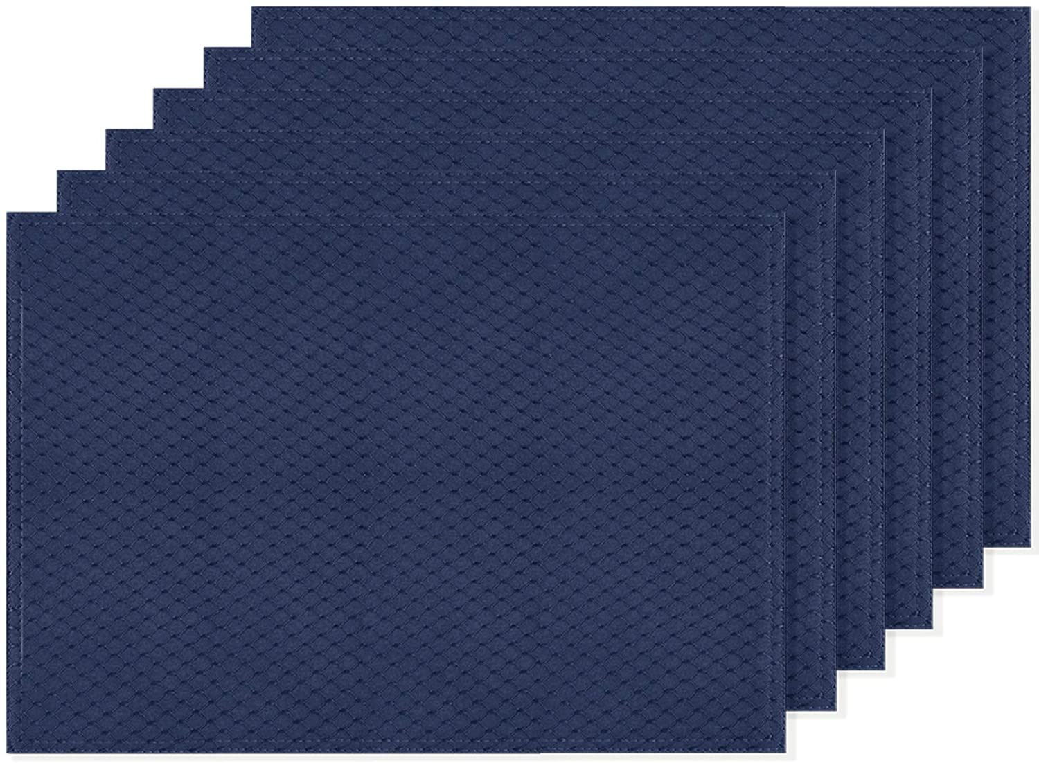 Ebecede Navy Blue Waffle Fabric Placemats for Dining Table Set of 6 Waterproof Spillproof Polyester Place Mats for Kitchen Table 13 x 19 inch