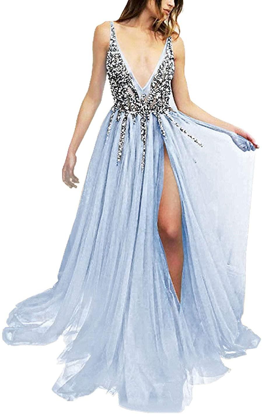 Prom Dresses Long Evening Formal Dress Deep V Neck Sequins Beaded Prom Gowns High Split Womens