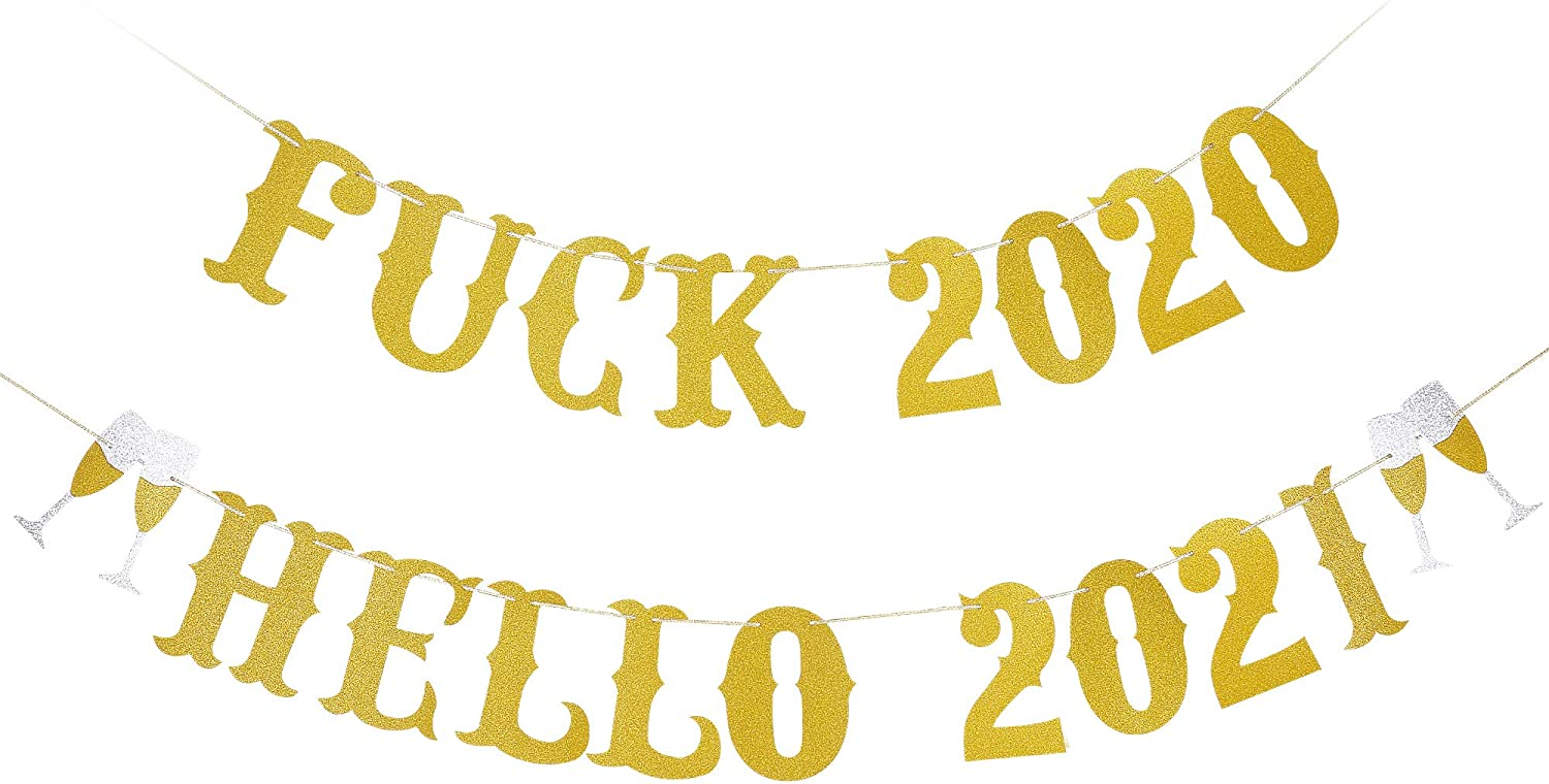 Gold Glittery Farewell 2020 Hello 2021 Banner- New Years Eve Party Decorations,New Year Decorations,2020 Farewell Banner,New Years Fireplace Mantle Home Decor,Happy New Year Sign- Farewell to 2020 and Welcome to 2021
