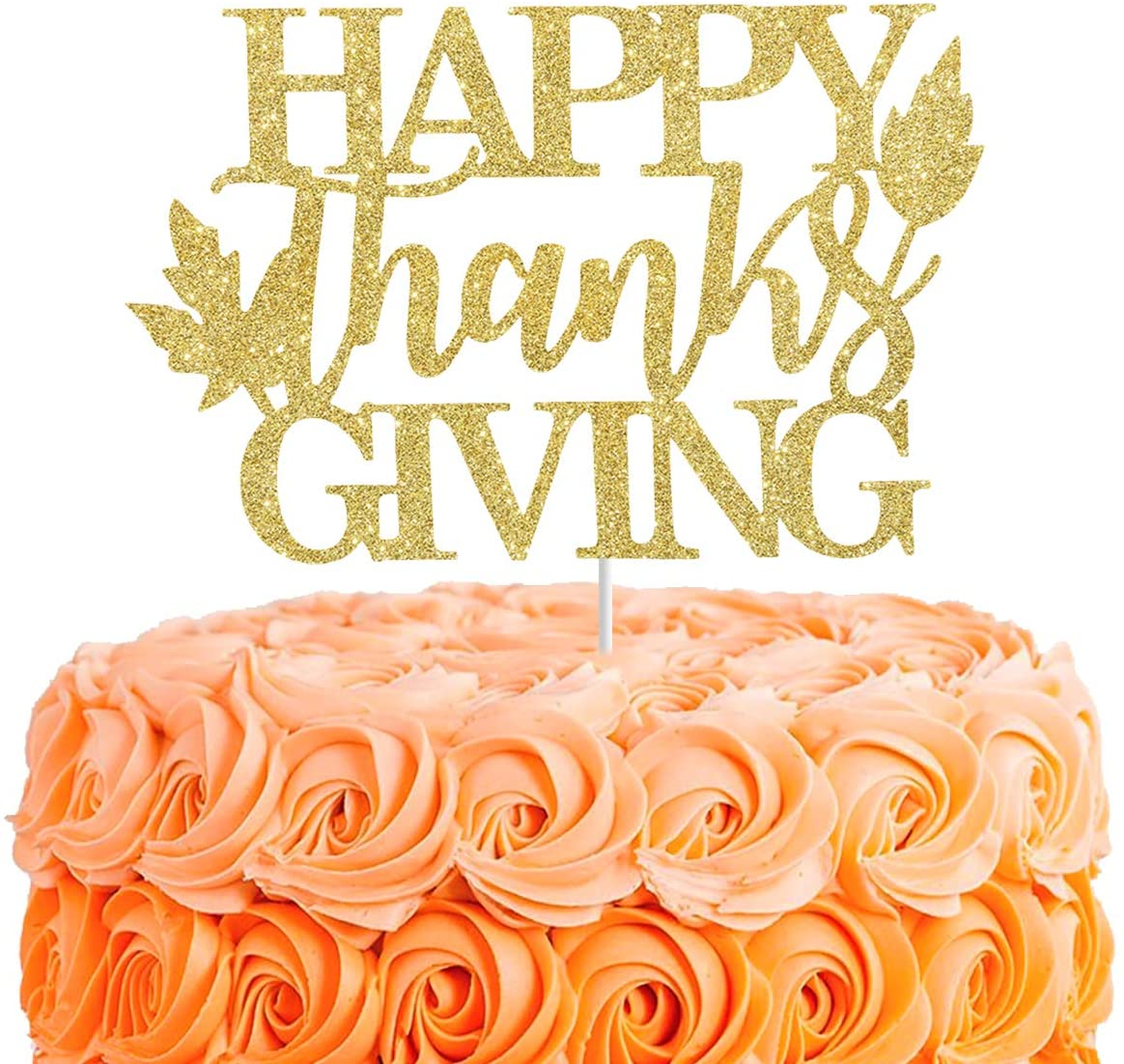 Happy Thanksgiving Cake Topper,Gold Glitter Grateful Blessed Cake Decor,Thankful Dinner Potluck Table Centerpiece,Fall Party Decorations