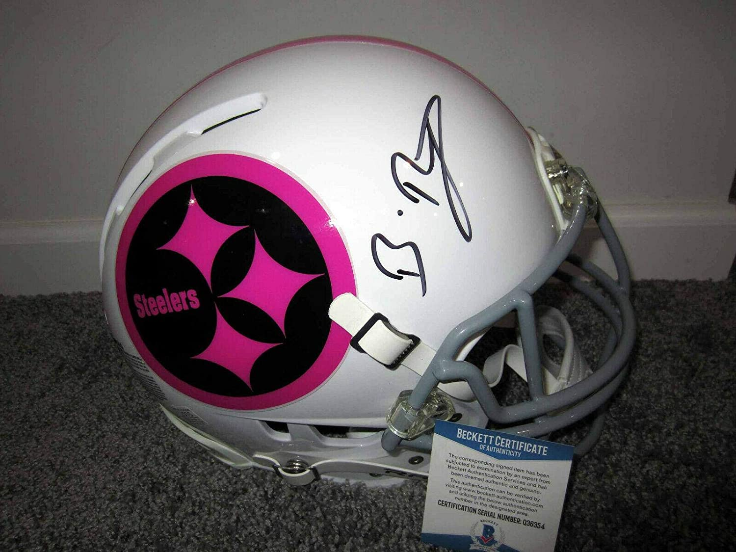BEN ROETHLISBERGER Pittsburgh Steelers SIGNED Full-Size Pink HELMET w/BAS COA - Autographed NFL Helmets