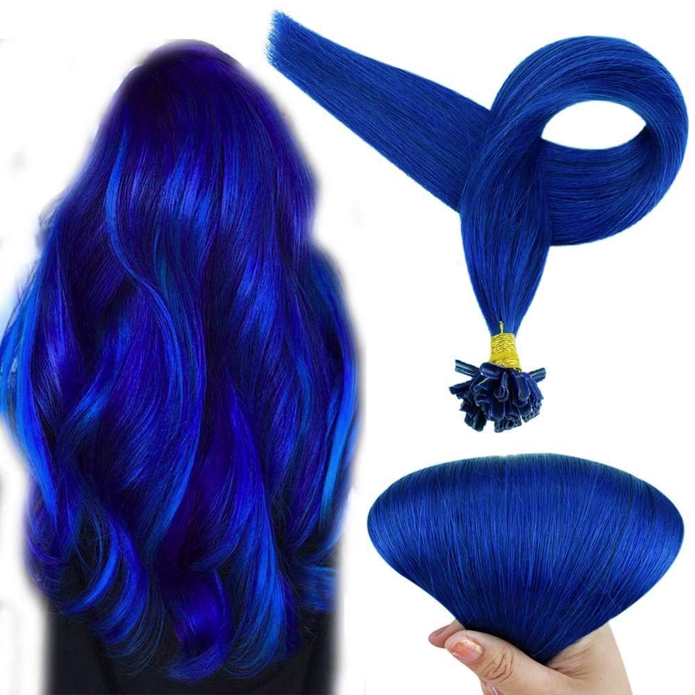 Fshine U Shaped Fusion Tip Hair Extensions 18 Inch Brazilian Human Hair Extension Blue Color Nail Tip Pre Bonded Keratin Human Hair Extensions 1g Per Strand Fusion Hair Extensions 25 Gram Per Pack