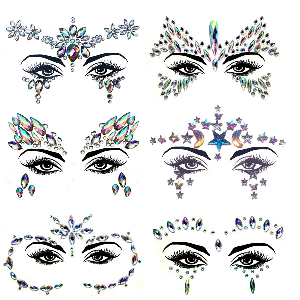 Meredmore 6Sets Festival Face Jewels stickers Body jewels stickers Glitter Rave Face Gems Rhinestones – Eye Body Gems | Rhinestone Stickers | Body Glitter Festival Rave & Party Accessories