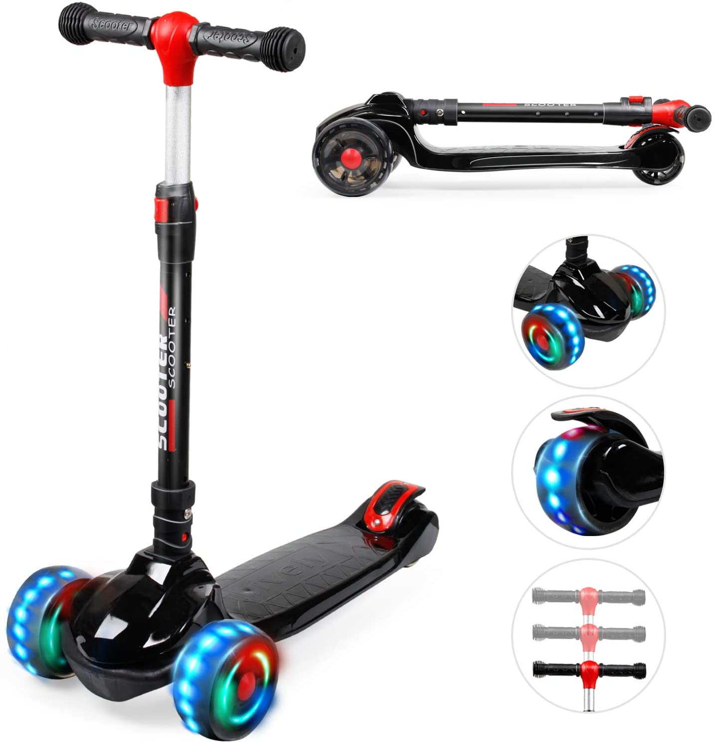 YHR Toddler Scooter with 3 Wheel Extra-Wide PU LED Flashing Wheels - 3 Wheel Kids Scooter Have 3 Adjustable Heights - Kick Scooter for Kids 2-8 Year Old boy & Girl