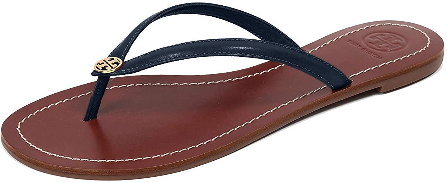 Tory Burch Womens Terra Thong Leather Open Toe Casual Slide Sandals
