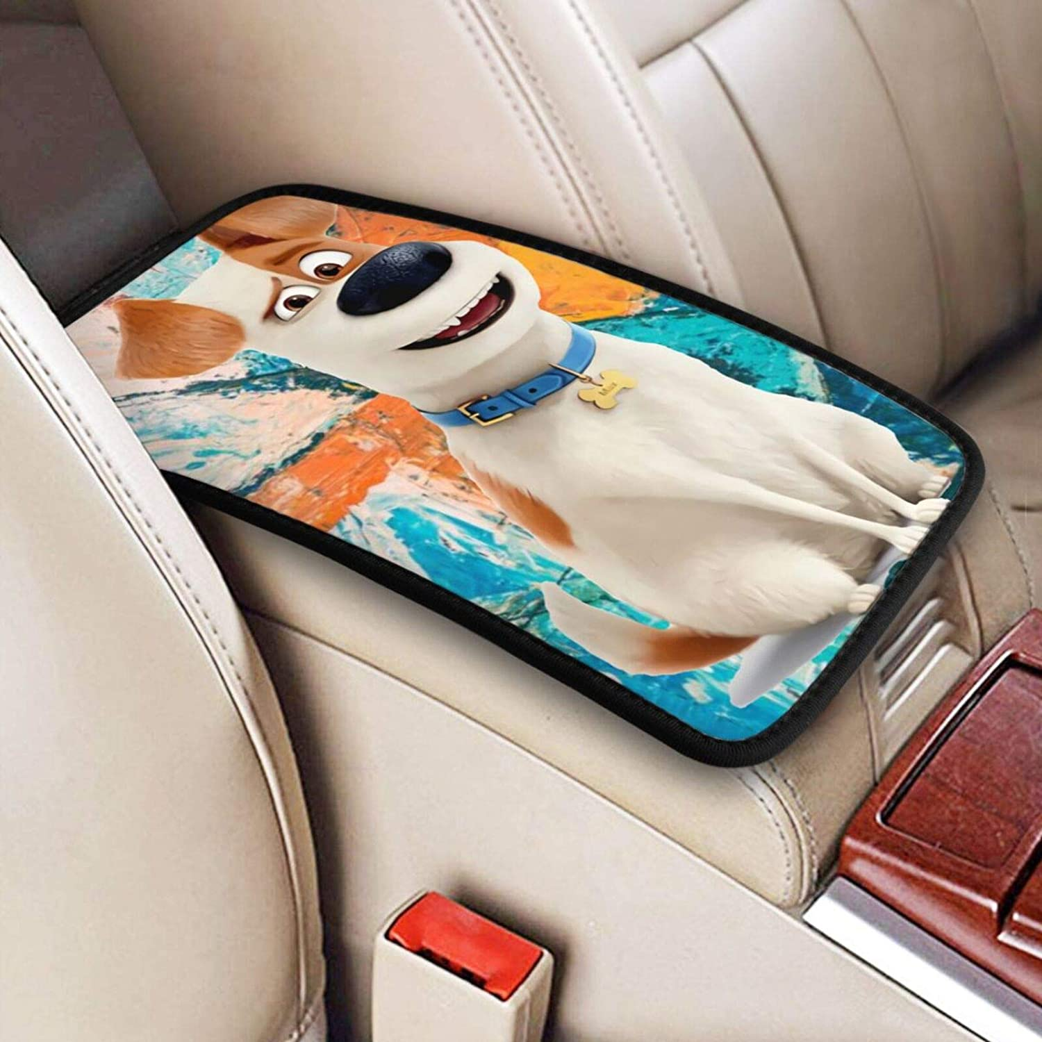 Maria M Arnold Secret Life of Pets Trendy and Fashionable Car Armrest Pad Cover Center Console Box Cushion,Black Universal Fit Auto Car Interior Accessorie