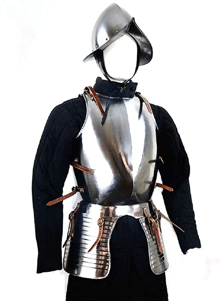Medieval Breastplate Cuirass with Helmet Knight Armor Set Halloween Costume Silver