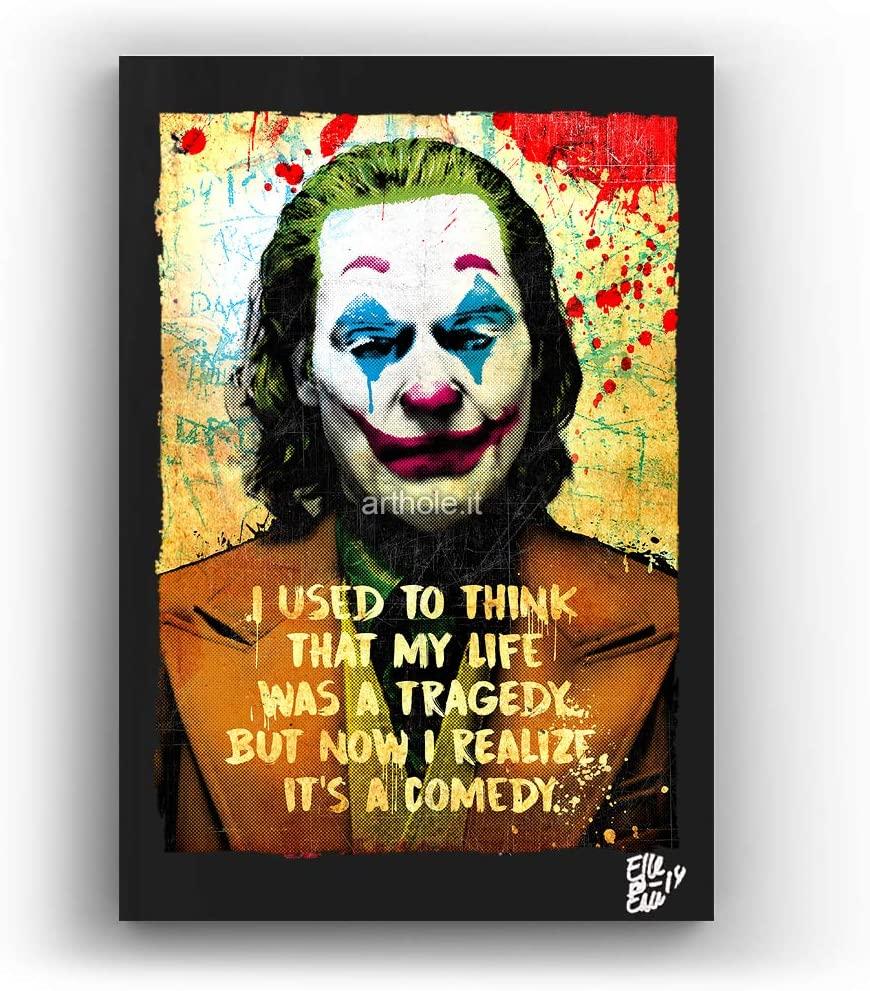 Arthur Fleck (Joaquin Phoenix) from Joker 2019 Movie - Pop-Art Original Framed Fine Art Painting, Image on Canvas, Artwork, Movie Poster