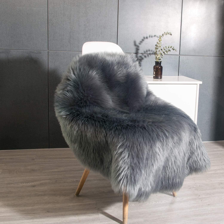 Luxury Soft Fluffy Faux Fur Area Rug Round Sheepskin Rugs for Bedroom Kids Room Decor Cute Circle Floor Carpets for Living Room,3ft Diameter (Dark Gray)