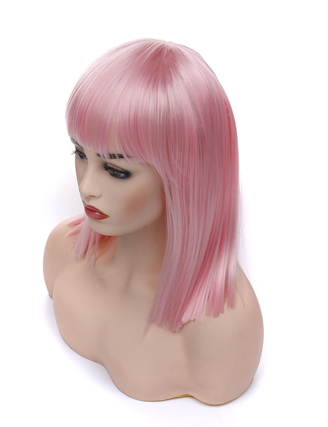 Morvally Short Straight Bob Wig with Flat Bangs Natural Looking Heat Resistant Hair Cosplay Costume Wigs (14 inches Pink)