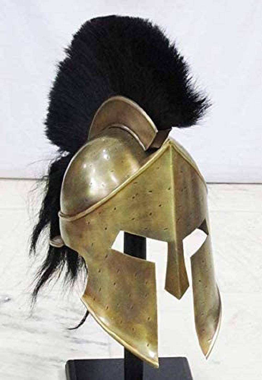 THE ARMOUR WORLD Greek Spartan Helmet | Medieval Roman 300 King Leonidas Movie Helmets+Liner+Wooden Stand (Brass Finish)| LARP SCA Armor Adult Gold