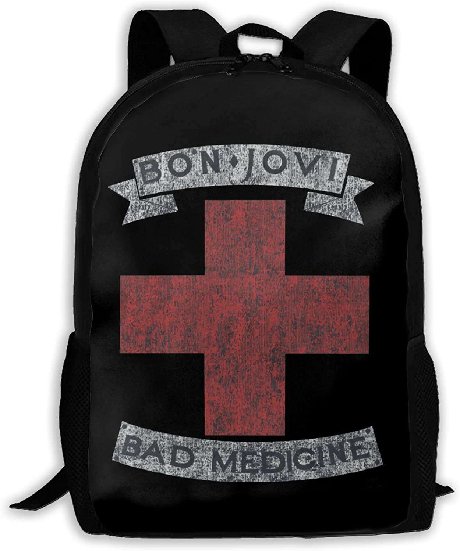Van Gogh Starry Night Bon Jovi Full-Length Printed Backpack,Students Or Travel Backpacks. Black