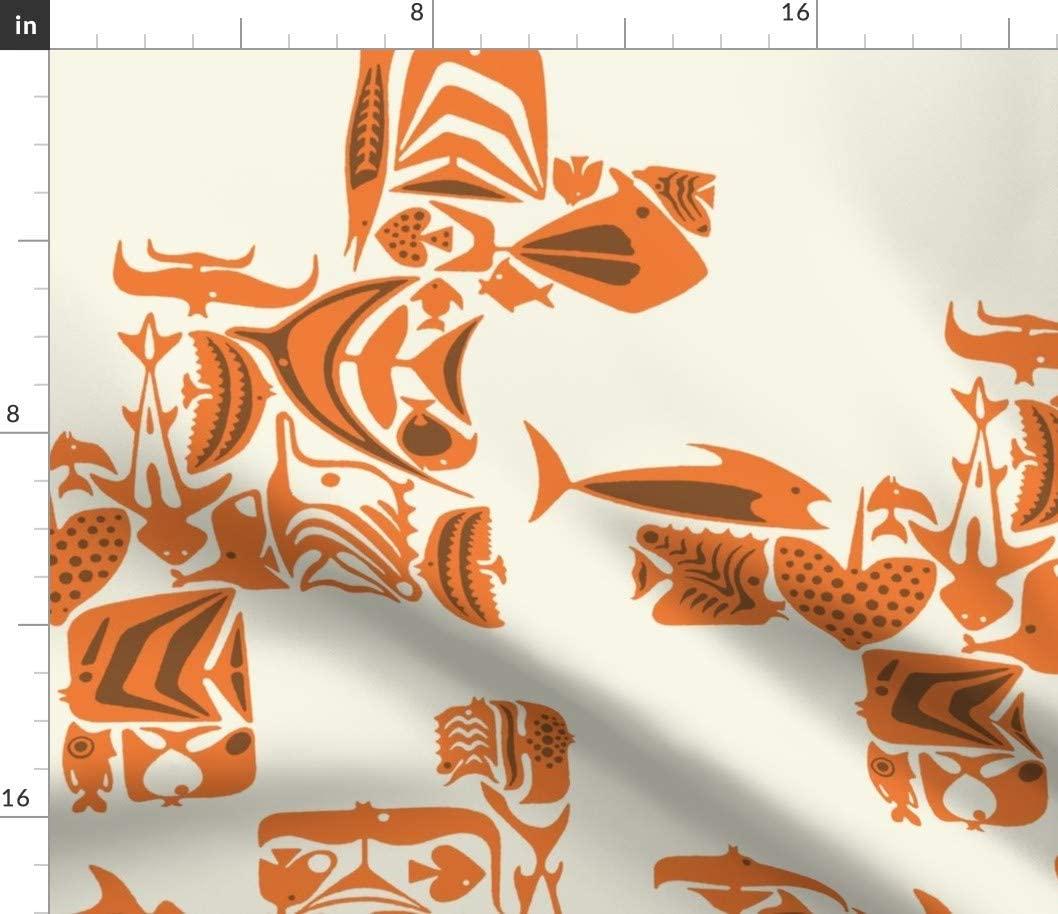 Spoonflower Fabric - Fish Hawaiian Island Aloha Tiki Beach Swim Pool Printed on Petal Signature Cotton Fabric by The Yard - Sewing Quilting Apparel Crafts Decor