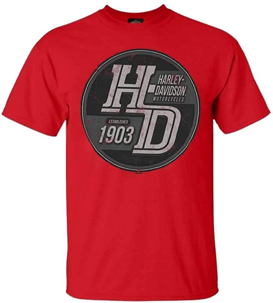 Harley-Davidson Men's Steamroller Crew Neck Short Sleeve Cotton T-Shirt, Red