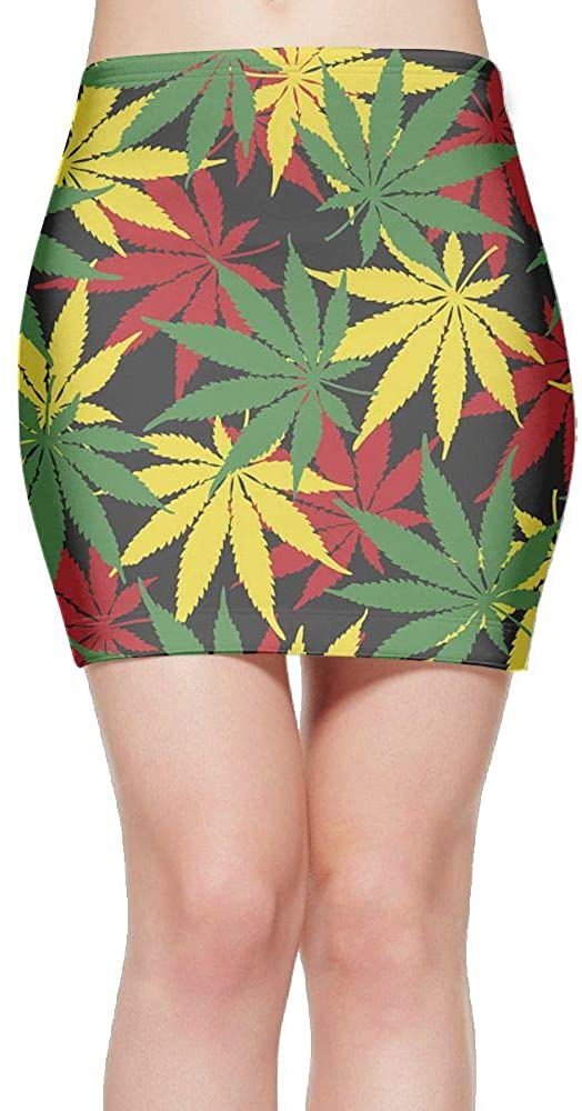 Women's Classic Tricolor Weed Cannabis Leaf Short Dress Pencil Skirt