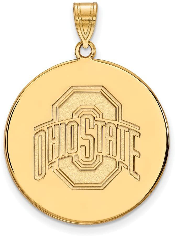 Ohio State Extra Large (1 Inch) Disc Pendant (10k Yellow Gold)