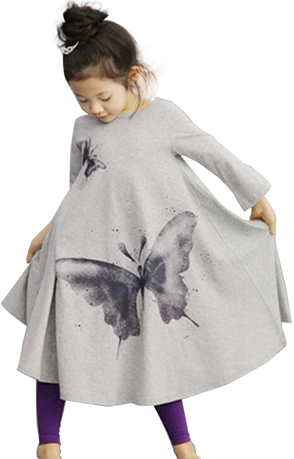 FTSUCQ Girls Lovely Butterflies Print Dress