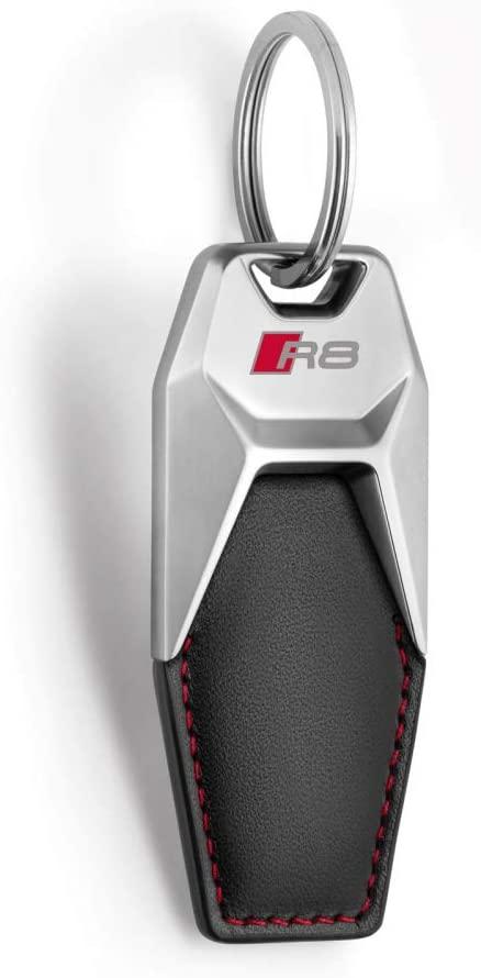 AUDI 3181900702 R8 Logo Engraved Metal Leather Pendant Keyring