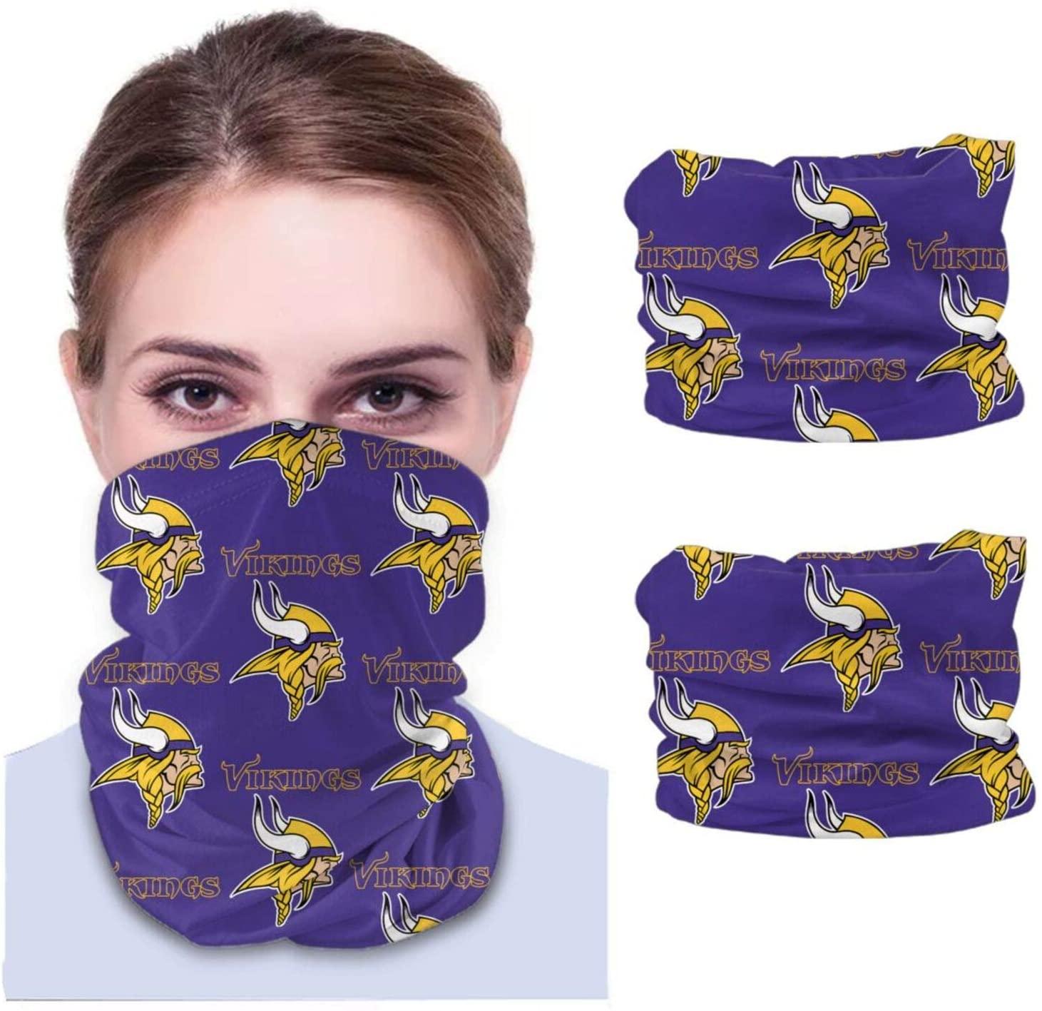 KANBGMTR Men and Women Minnesota-Vikings Bandanas, Neck Gaiter, Headwear, Magic Scarf, Headband for dust Sun Wind Unisex Balaclava Cap Face Shield (2 Pack)