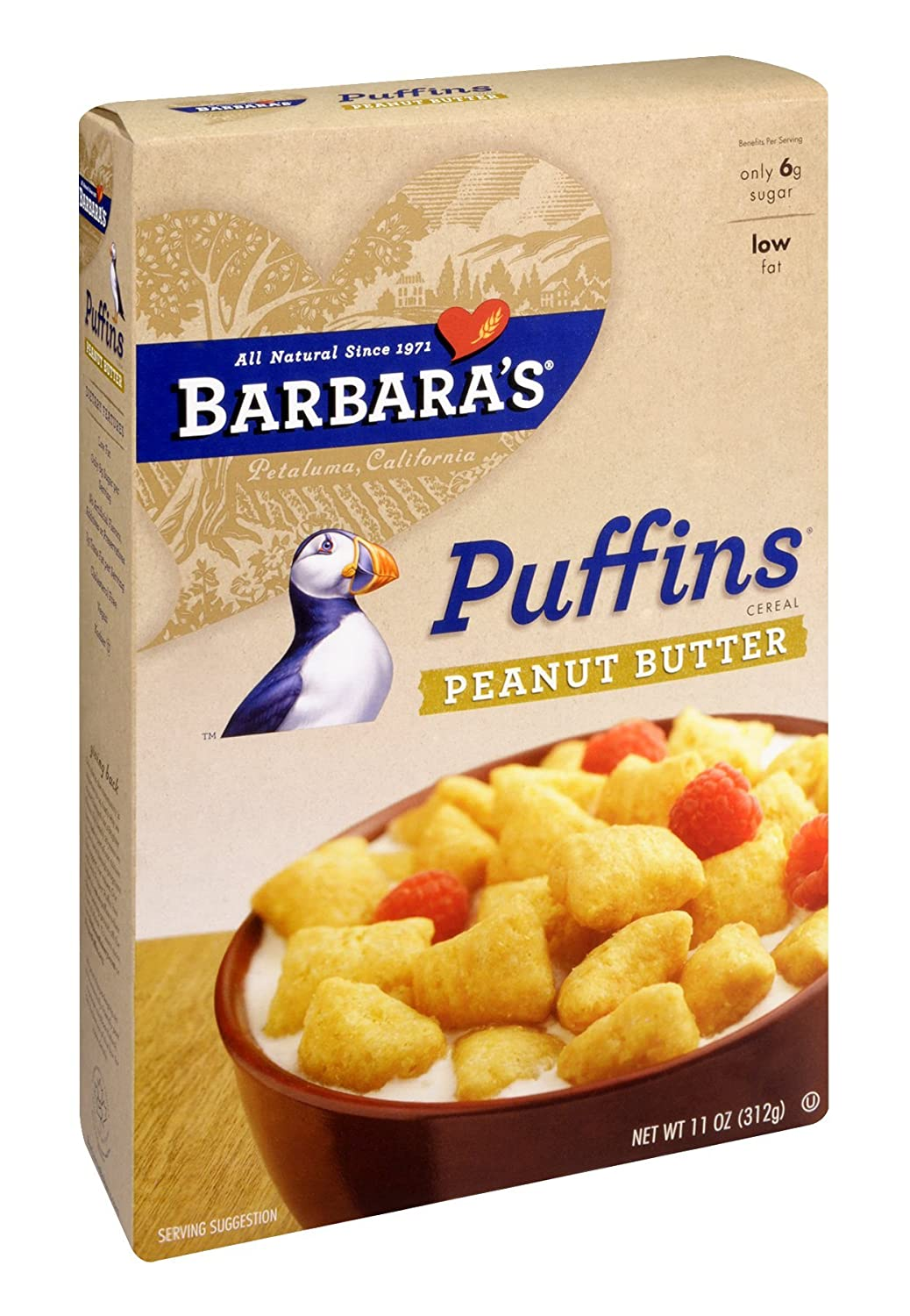 BarbaraS Bakery Peanut Butter Puffins 11 OZ (Pack of 24)
