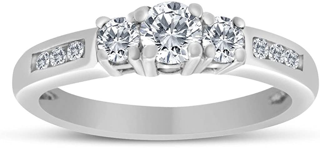 1/2ctw Diamond Three Stone Ring With Side Stones in 10k White Gold (H-I, I2-I3)