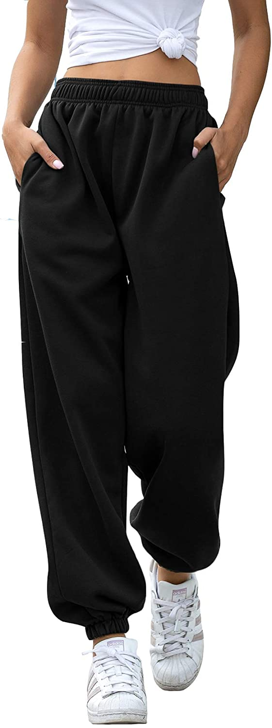 Womens Cinch Bottom Sweatpants Pockets High Waist Sporty Gym Athletic Fit Jogger Pants Lounge Trousers