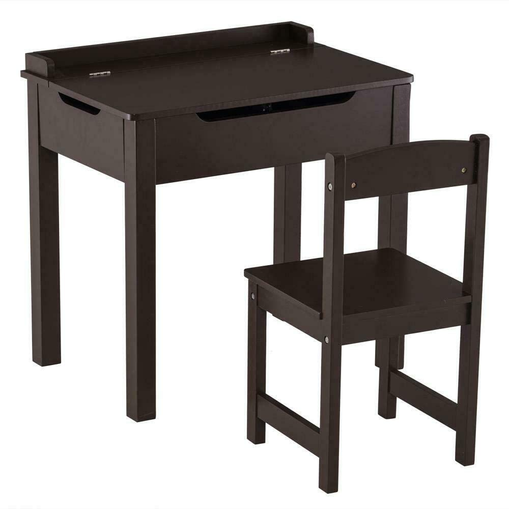 MDF Children's Study Table and Chair Set of 2 PCS Open Drawers Furniture Coffee, Coffee