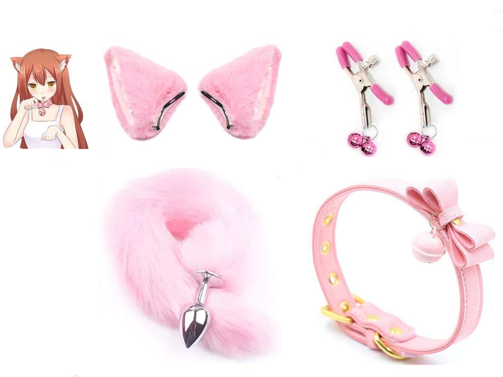 15 Fluffy Grey Faux Fox Tail B-ü~t`t Pl-ù`g T-ö-ys & Plush Cat Ears Headband & Bell Lace Bow Tie Costume Stímùlâtor Halloween Fancy Dress Cosplay Props SizeM