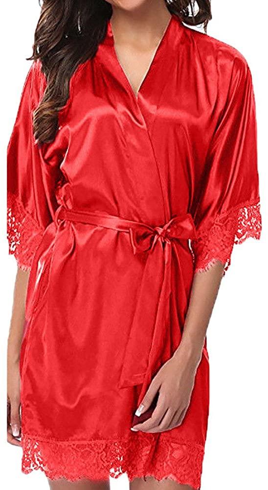 BITOPYTOPSIY Women's Kimono Robes Bathrobes Short Satin Sleepwear Sexy Lace V-Neck Nightwear Bridesmaids Ladies Loungewear