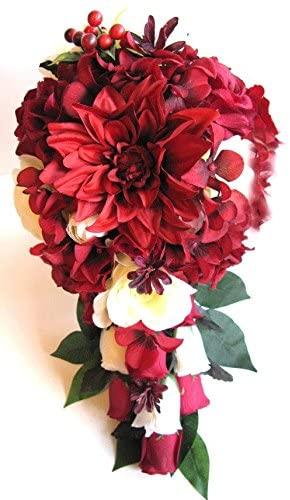 Wedding Flowers Silk Bridal Bouquet BURGUNDY APPLE RED Burlap Cream Cascade 17 piece package wedding Bouquets Wedding flower arrangements