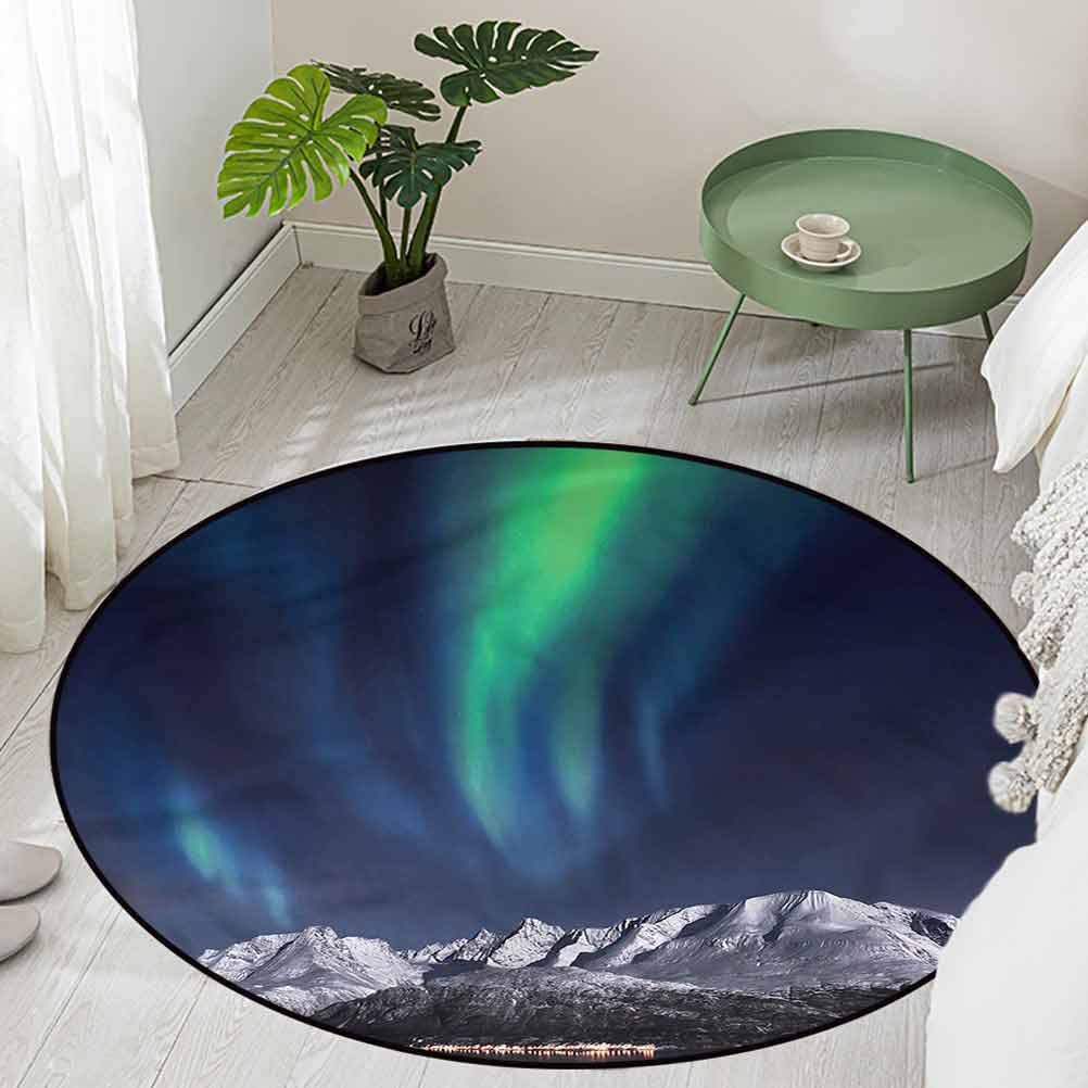 Round Office Chair Floor Mat Foot Pad Northern Night Norway Solar Diameter 60 inch Kitchen Rugs