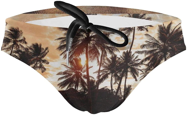 Sea Sunset Palm Tree Mens Sexy Bikini Swimsuit Swimwear Quick Dry Print Briefs Boys