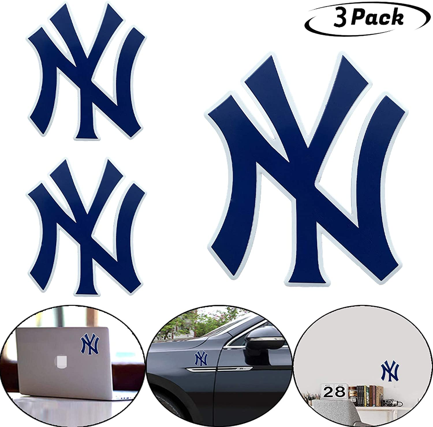 Topfans 3PCS Fit NY Yankees Team Logo Stickers, Bumper Stickers, Decals & Magnets,for Car Stickers, Wall Wtickers, Notebooks, Glass and Other Smooth Surfaces(3.9in (Stickers NY)